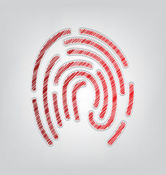 Fingerprint sign red gradient vector