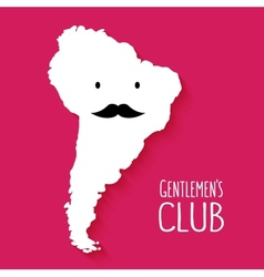 Fun mustache club cartoon south america map vector