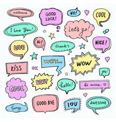 hand drawn set of speech bubbles with words vector image