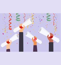 hands holding diploma graduation flat design vector image