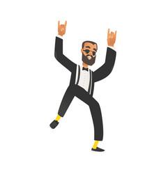 Happy dancing groomsman man in suit with beard vector