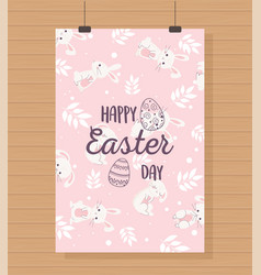 happy easter hanging card bunnies floral vector image