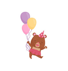 happy girl bear in pink skirt and party hat vector image