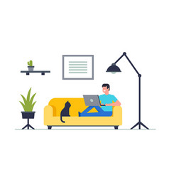 happy man sitting on sofa with laptop vector image