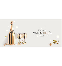 happy valentine s day poster with luxury golden vector image