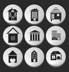 House and building icon set vector