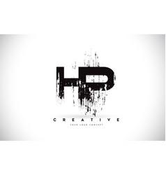 hp h p grunge brush letter logo design in black vector image