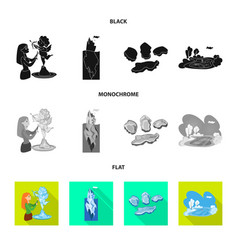 Isolated object of texture and frozen icon set of vector