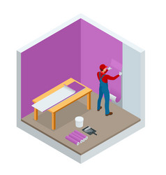 isometric painter worker painting wall with vector image