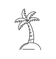 Line palm with coconuts and leaves vector