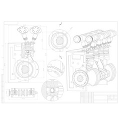 Machine building drawing engine car on a white vector