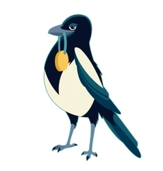 Magpie with medal vector