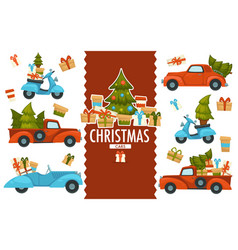 merry christmas cars transporting pine trees and vector image