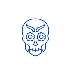 mexican skull line icon concept mexican skull vector image