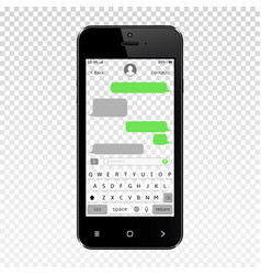 Mockup of mobile messenger on smartphone vector