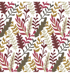 modern seamless pattern with hand drawn leaves vector image