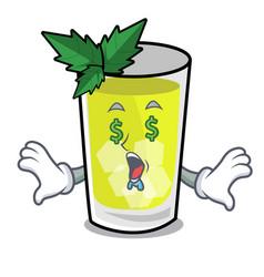 Money eye mint julep mascot cartoon vector