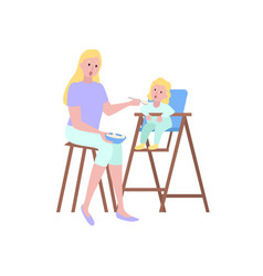 mother feeding spoon daughter sitting on chair vector image