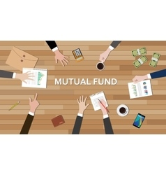 mutual fund economy business team work together on vector image