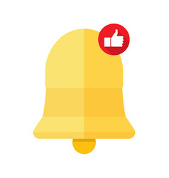 new notification icon bell with a thumb up hand vector image