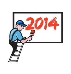 New Year 2014 Painter Painting Billboard vector