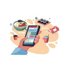 online food order via phone vector image
