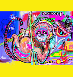 Original digital abstract painting of sloth vector