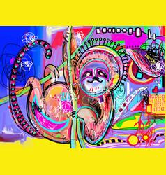 original digital abstract painting sloth vector image