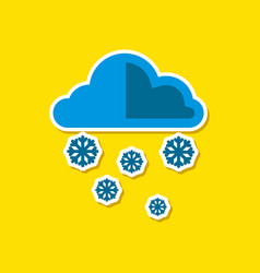Paper sticker on stylish background of cloud snow vector