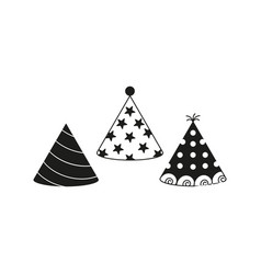 party hat icons black vector image