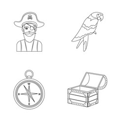 Pirate bandit hat bandage pirates set vector