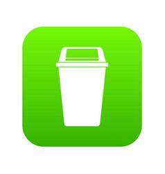 plastic flip lid bin icon digital green vector image