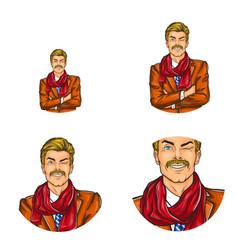 Pop art avatar icon handsome aged man vector