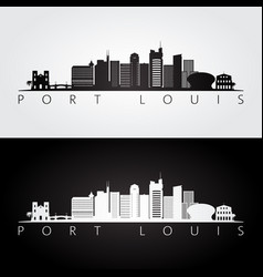 port louis skyline and landmarks silhouette vector image
