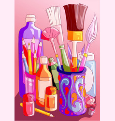 Rainbow colorful art supplies brushes paint vector