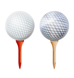Realistic golf ball on tee isolated vector