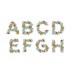 rubbish font trash abc garbage alphabet letter vector image