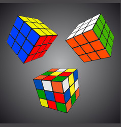 Rubik s cube in different positions realistic vector