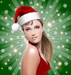 Santa girl with santa hat vector