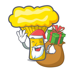 Santa with gift chanterelle mushroom mascot vector