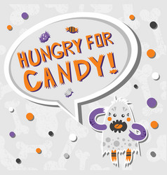 Scary but cute hungry halloween monster vector