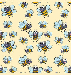 Seamless background with bee flying vector
