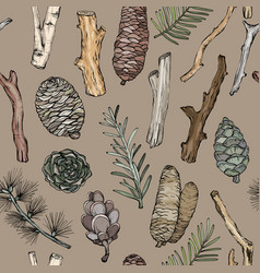 seamless pattern with forest branches and cones vector image