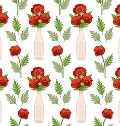 Seamless pattern with poppies in vases vector