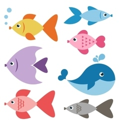 set colorful fishes vector image