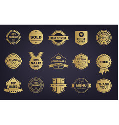 Set golden shop vintage retro badges vector