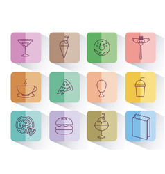 set of fast food isolated icon vector image