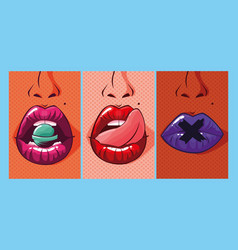 Set of sexy woman mouths pop art style vector