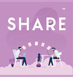 share concept -businessman sharing data vector image