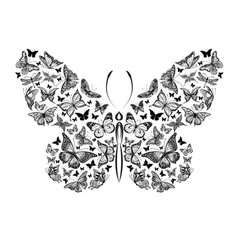 silhouette of a butterfly made of a small vector image
